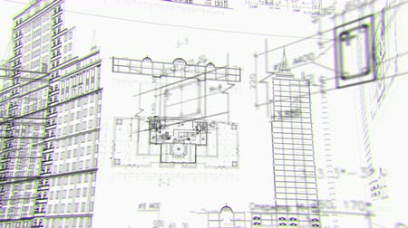 blueprint : Architectural and constructional schemes, looped background Stock Footage