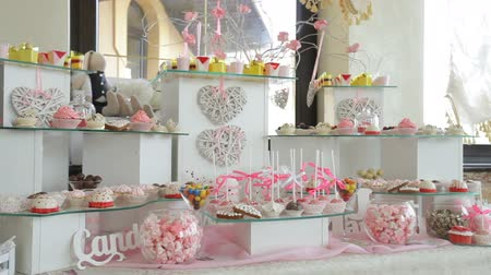 colorful candy : Candy Bar Wedding, candy buffet, delicious Candy bar atwedding Stock Footage