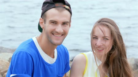 self portrait photography : Cheerful couple in love. They are smiling