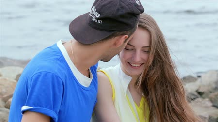 self portrait photography : Cheerful couple in love. Slow motion. Tenderness touch foreheads Stock Footage