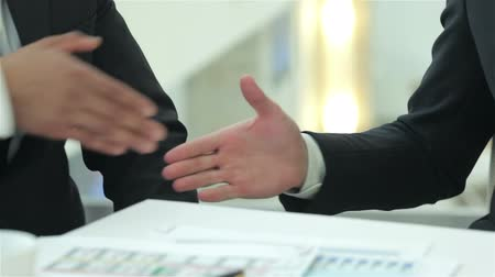 sucesso : Successful businessmen sitting at table in office while discussing their business doings. Young peop... Vídeos