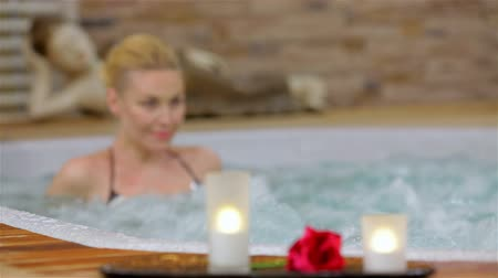 hot tub : Spa resort hot tub woman Stock Footage