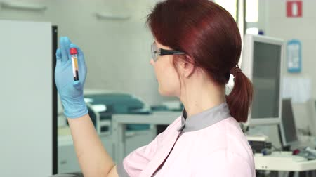 forensic science : Attractive female laboratory worker wearing protective glasses and gloves comparing two blood samples test tubes working at the modern lab. Science, chemistry, medical industry. Stock Footage