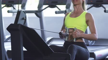 vigorous : Cropped shot of a sportswoman with sexy fit and toned body workingout on seated cable row machine at the gym studio. Athletic fitness female training her back muscles. Health, body, lifestyle. Stock Footage
