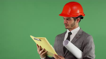 professionalism : Studio portrait of a handsome bearded male constructionist examining documents, looking confused, posing on green chromakey background. Profession, occupation, work problems concept. Stock Footage