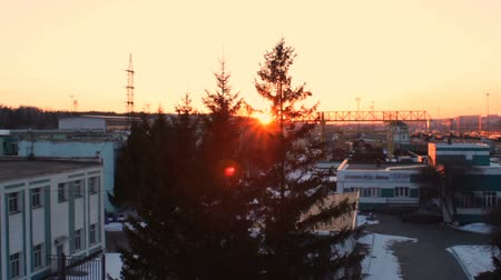 трейлер : Sunset on railway station, Russian Railways. Sunlight at fir tree branches, snow