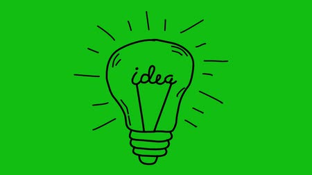 inspiração : Idea. Light bulb sketch with concept of idea. Doodle hand drawn bulb.