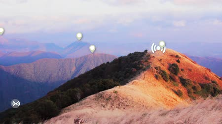 detection : Wi-fi connection signal coverage and location detection by Augmented Reality in nature. Smart travel technology, position and network concept. Wifi access points, allocation by AR in autumn mountains Stock Footage