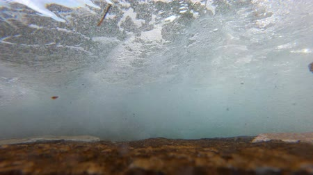 Underwater view of oncoming sea waves with seafoam washing stone coast, splash of ground swell during tide. Air bubbles of incoming waves washing rocky shore under water. Collapse of ground sea wave