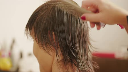салоны красоты : Hairdresser combing through hair, parting womans wet hair after washing for haircut in hairdressing beauty saloon. Lady in barbershop. Preparing for style haircut. Barber hands prepare for head-dress Стоковые видеозаписи
