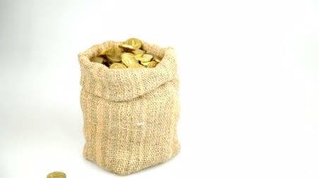 tesouro : Golden coins fall from above and fill a linen bag