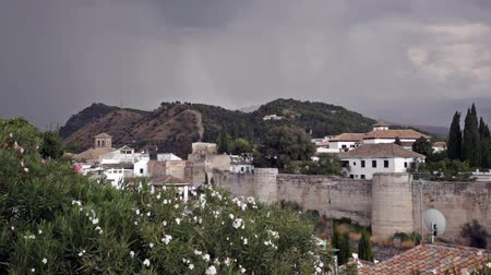 Андалусия : View on white buildings of Granada in windy day, Andalusia, Spain Стоковые видеозаписи