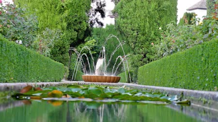 провинция : Working small fountain in green park with flower bushes, Granada, Spain
