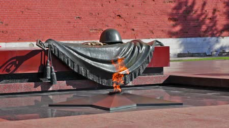 heroes square : Tomb of the Unknown Soldier with burning flame in Alexander Garden (Moscow)