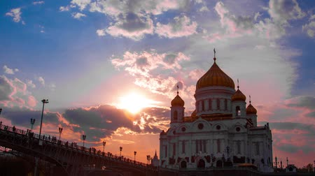 moskwa : Sunset against the Cathedral of Christ the Saviour, Moscow, Russia