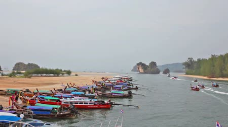 trave : Boats in the gulf in tourist port, the province Krabi, Thailand