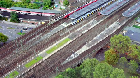 köln : Movement of passenger trains, top view Stock mozgókép