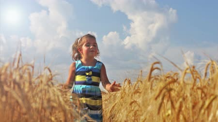 хлеб : Little girl running through a wheat field