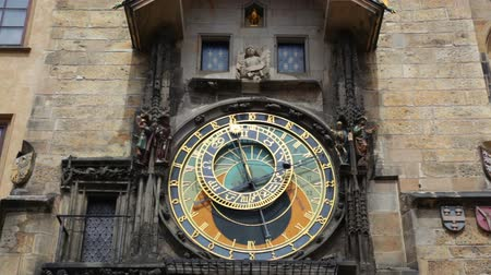 astroloji : Old astronomical clock in the center square of Prague, Czech Republic