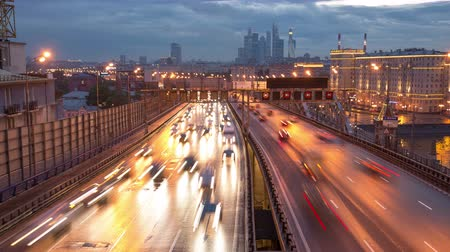 Traffic on Third Transport Ring in Moscow, transition from dusk to night, titelapse 4K