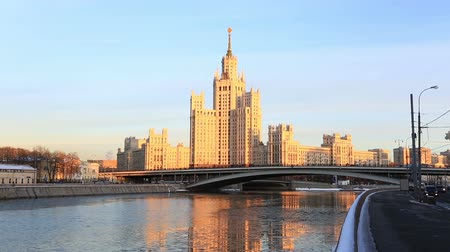stalinist : Moscow, high-rise building on Konelnicheskaya Embankment on a sunset, Russia