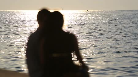 Loving couple sitting on promenade near sea in evening, view from back