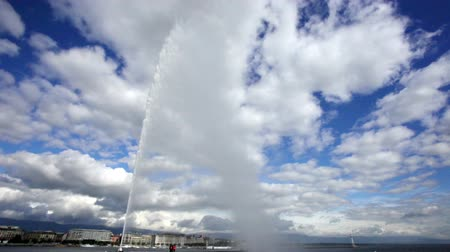 Working fountain with splashes, Lake Geneva, Switzerland