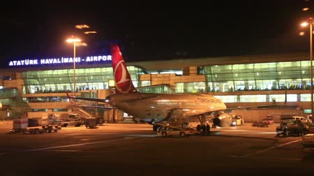 View at night on a passenger terminal at the airport Ataturk in Istanbul