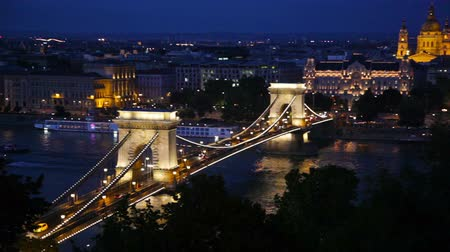 The Chain Bridge in Budapest, Hungary at night Vídeos