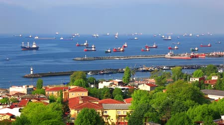 Marine ships are at anchor in the Sea of ??Marmara. Istanbul, Turkey