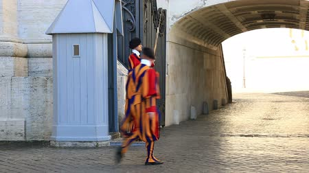 Famous Swiss Guard on September 22, 2015 in Vatican. The Papal Guard with 110 men probably is the worlds smallest army.