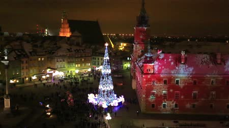 Warsaw, Poland - December, 27, 2014: Christmas tree in Warsaw on the square of the Royal castle