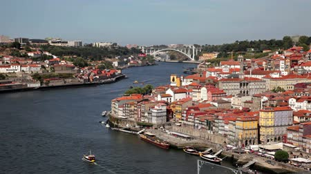 Porto, Portugal - September, 21, 2013: The City of Porto at the Douro River in Portugal. Vídeos
