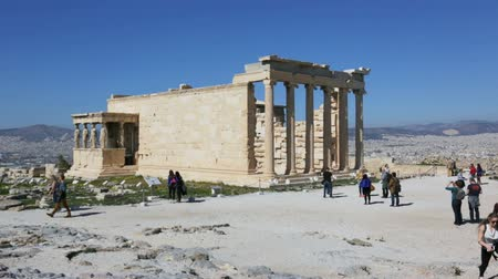 Athens, Greece - February, 20, 2017: Erechtheum temple ruins on the Acropolis in a summer day in Athens, Greece