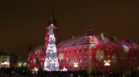 Warsaw, Poland - December, 27, 2014: Traditional Christmas tree in Warsaw on the square of the Royal castle in the evening