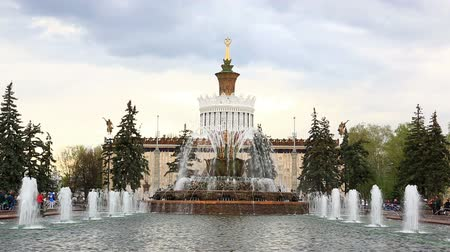 Moscow, Russia - May, 2, 2015: Pavilion of Ukraine, Stone Flower fountain. This fountain was built in 1954. Vídeos