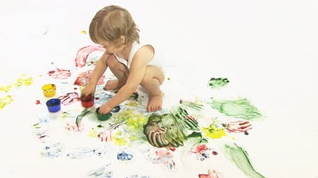preschool : boy painter in the studio