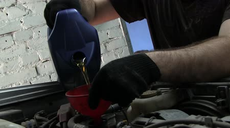 garagem : changing oil in car engine