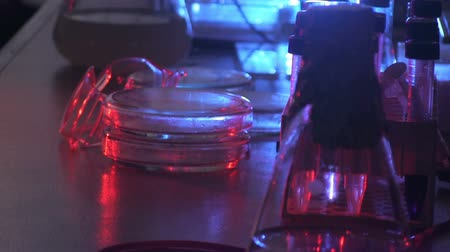 bio hazardous : Dark laboratory in blue and red light Stock Footage