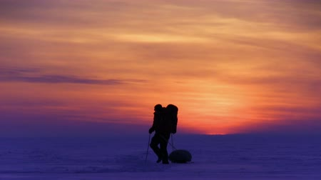 полярный : One man go to sunset on snow desert