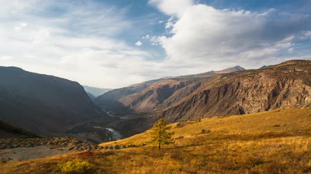 fall down : Autumn mountain landscape. Altay region, Russia, Katu-Yaryk pass to Chulyshman river.