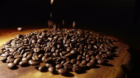 black coffee : Pouring coffee beans slow motion