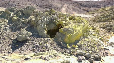 geyser iceland : Fumarole field in Ebeko volcano caldera. Emission of hot sulfur gas. Stock Footage