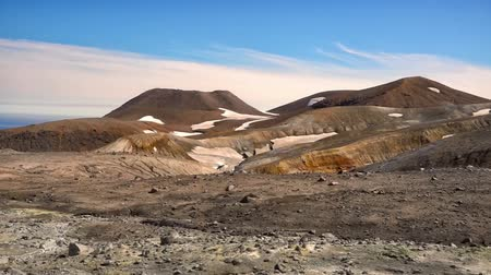 kamchatka : Panorama of the slope of Ebeko volcano on Paramushir Island. Kuril Islands, Russia Stock Footage