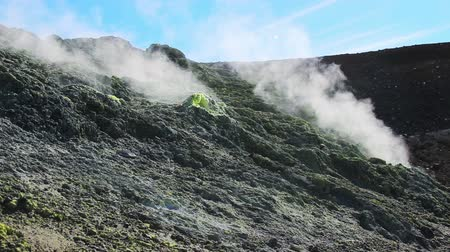 fumaroles : Volcanic activity, sulfur fumarole and hot gas on the slope of Ebeko volcano, Northern Kuriles, Paramushir Island