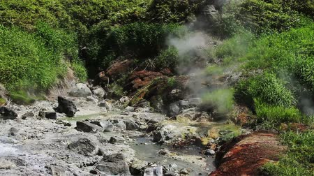 géiser : White vapor rises above the hot springs on the slope of the volcano. Kuril Islands, Itutrup Island, Baranskiy Volcano