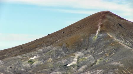dead valley : Panorama of the slope of Ebeko volcano on Paramushir Island. Kuril Islands, Russia Stock Footage