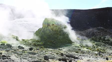 fumarole : Volcanic activity, sulfur fumarole and hot gas on the slope of Ebeko volcano, Northern Kuriles, Paramushir Island