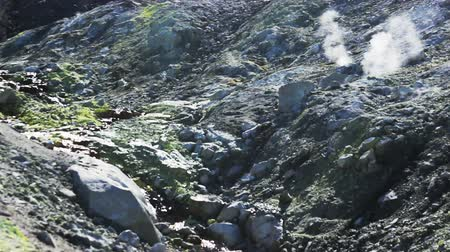 volkan : Volcanic activity, sulfur fumarole and hot gas on the slope of Ebeko volcano, Northern Kuriles, Paramushir Island