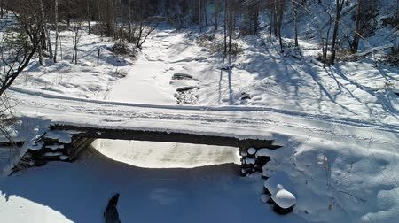 Flying Over A River In The Winter Forest.